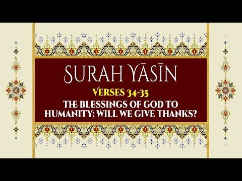 The Blessings of God to Humanity: Will We Give Thanks? - Surah Yaseen - Verses 34-35 - English