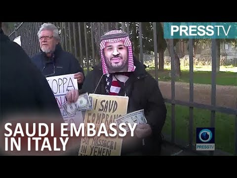 [20 January 2019] Protest at Rome\'s Saudi embassy over Italian Super Cup final - English