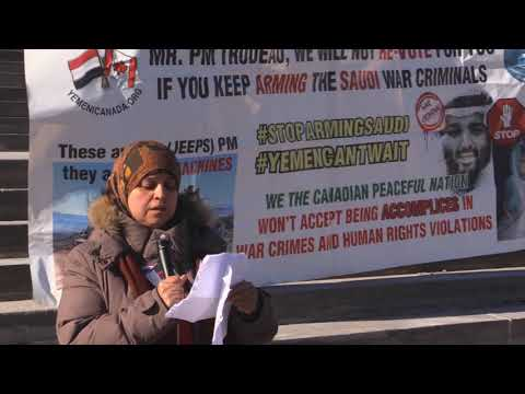 Ottawa Mark 4th year of Illegal war on Yemen  A Yemeni Sister speaks infront of Parliament Hill Ottawa - Arabic