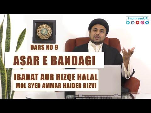 Ramzan Dars 2020   Asaar E Bandagi Dars 9   Ibadat Aur Rizqe Halal   Maulana Syed Ammar Haider Rizvi   Urdu