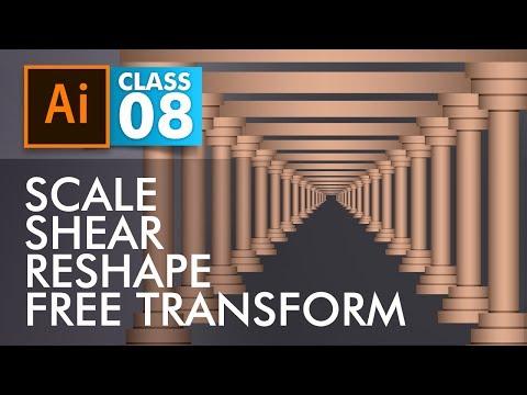 Adobe Illustrator Training - Class 8- Learn Scale, Shear, Reshape and Free Transform Tools